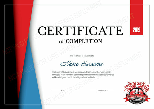 Riverside Bartending School Bartending Certificate